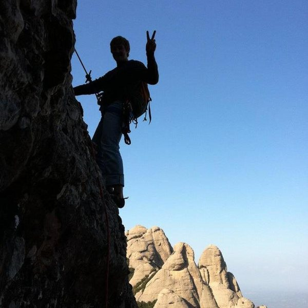 Rock Climbing Photo: Me a few pitches up on Badalona. Montserrat, Catal...
