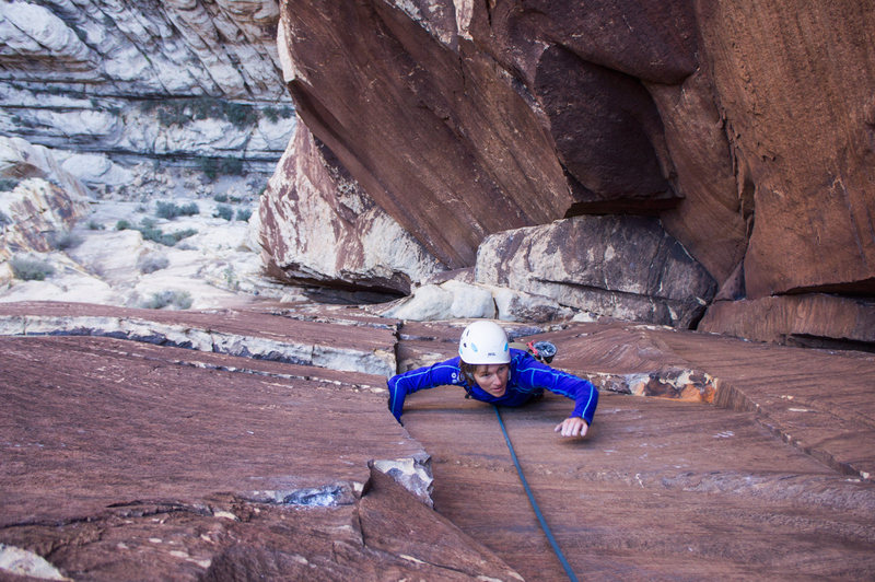 Rock Climbing Photo: Finally coming out onto the face after the chimnne...