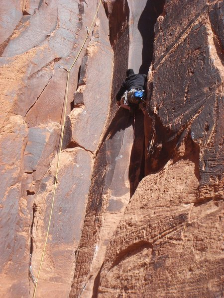 Rock Climbing Photo: Steve T leading the first pitch.