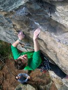 Rock Climbing Photo: Kons working some of the open-handed holds.