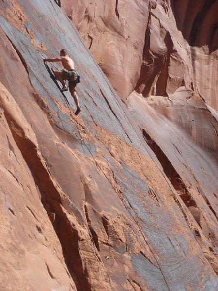 Rock Climbing Photo: Steve leading the direct start.