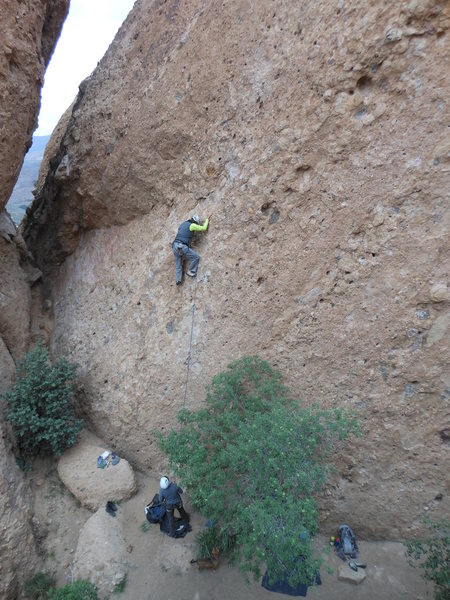 "Rock Climbing Photo: A leader working the pockets of ""Sophie's Cho..."