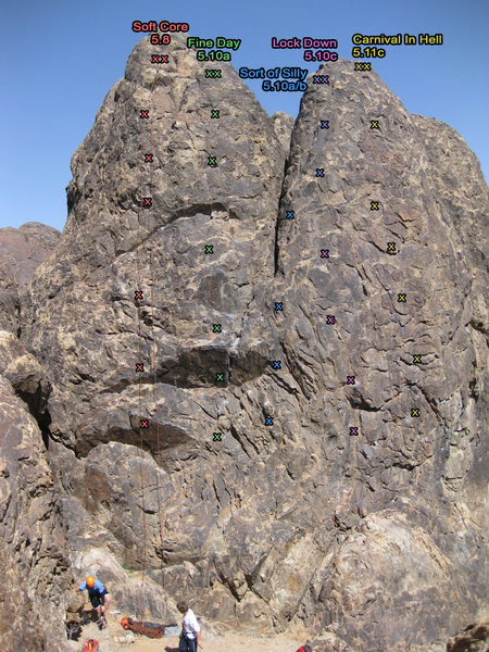 Rock Climbing Photo: Bolt Locations* I may be missing a bolt or two in ...