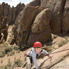 Bryson (5 years old in this photo) climbs Fiddlin' Buckaroo, in the Alabama Hills.