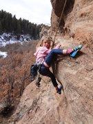 Rock Climbing Photo: Perfecting her heal hook.