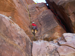"""Rock Climbing Photo: Roy starting up. Yellow = """"A Hole In The Wall..."""