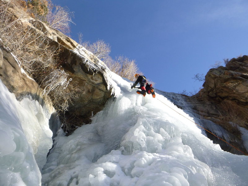 Ryan leading the icefall on January 9, 2013.