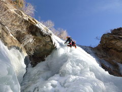 Rock Climbing Photo: Ryan leading the icefall on January 9, 2013.