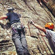Rock Climbing Photo: Duc Nguyen spots Jerry Moore at the start of Peppe...