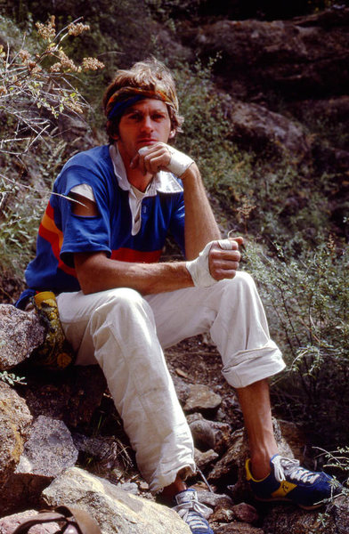 Jimmie Dunn in classic 1970s climbing clothes....