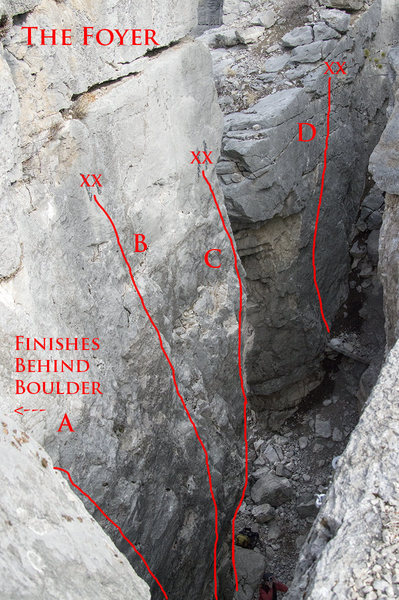 New Routes not in Rock Climbs of Southwest Montana<br> <br> A - Bird of Paradise 5.9<br> B - Christianity on Demand 5.8<br> C - Skipping Stones Into My Childhood 5.7 (new)<br> D - Taste of Grit 5.6/7 (new)