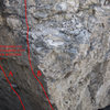 New Routes not in Rock Climbs of Southwest Montana<br> <br> A - Death From Above 5.12b<br> B - Unknown 5.10+ (new)