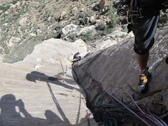 Rock Climbing Photo: Looking down at p2.  We built our hanging belay lo...