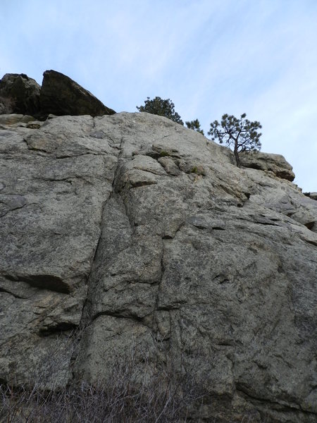 Climb the face to the right of the seam....