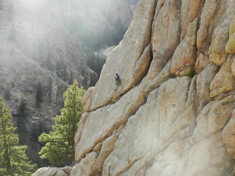 Rock Climbing Photo: Jimbo at the brown spot.