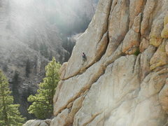 Rock Climbing Photo: Jimbo at the brown spot.