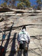 Rock Climbing Photo: Joshua Corbett prepares to follow and clean gear a...