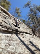Rock Climbing Photo: Joshua on the fun 5.5 face leading to the crux bul...