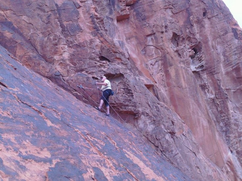 Belaying at the top of the 5.5. approach pitch