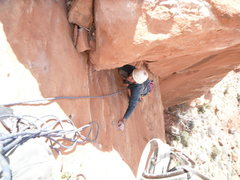 Rock Climbing Photo: Roy finishing the second half of the route