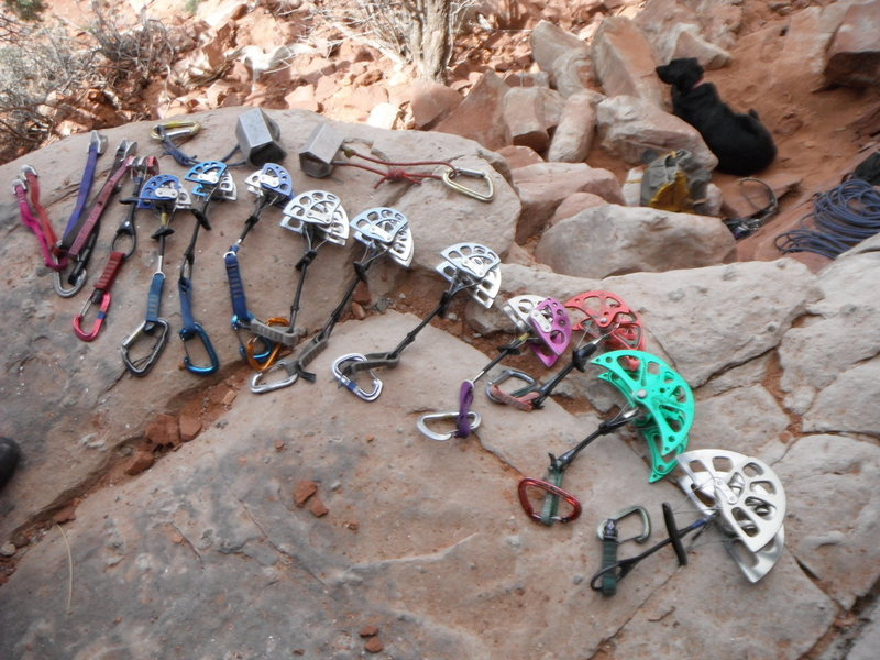 Rock Climbing Photo: Rack used on the FA