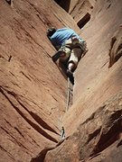 Rock Climbing Photo: Clark working through the hands section. (Nikon PL...