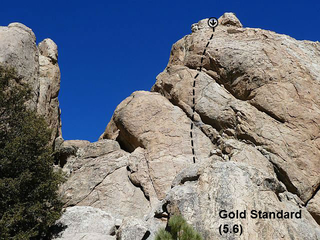 Rock Climbing Photo: Gold Standard (5.6), Holcomb Valley Pinnacles