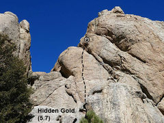 Rock Climbing Photo: Hidden Gold (5.7), Holcomb Valley Pinnacles