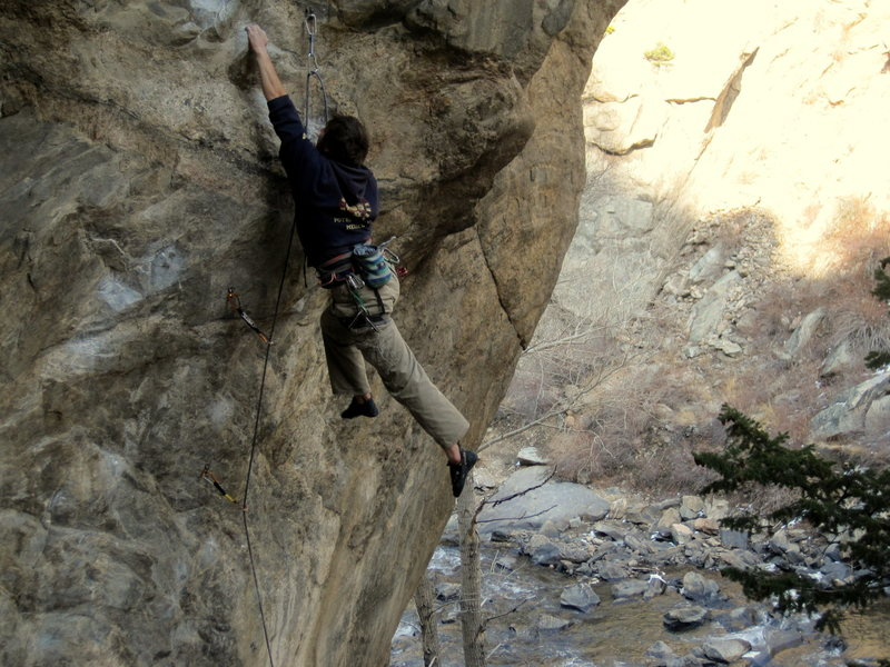 Rock Climbing Photo: Andrew Mathews fighting the swing on the beautiful...