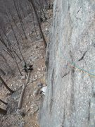 Rock Climbing Photo: Looking back along P1.  We started with the Sundow...