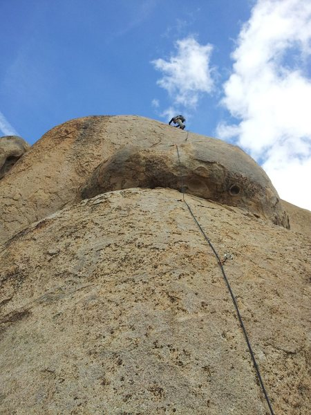 Local gal past the crux and moving out with a swift lead.