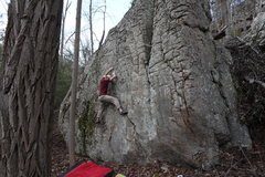 Rock Climbing Photo: H1 Head for the High notch Left of the Main water ...