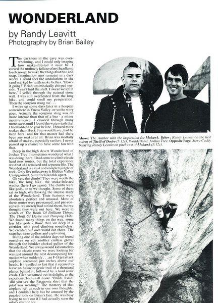 Wonderland (page 1), Mountain Magazine 123 (September/October 1988)