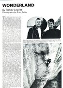Rock Climbing Photo: Wonderland (page 1), Mountain Magazine 123 (Septem...