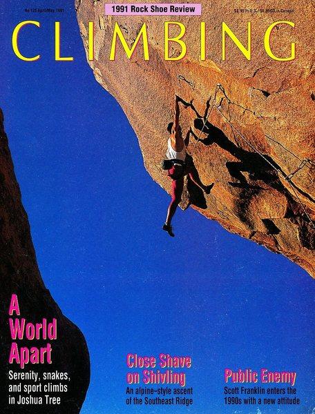 Rock Climbing Photo: Climbing Magazine 125 (April/May 1991) cover