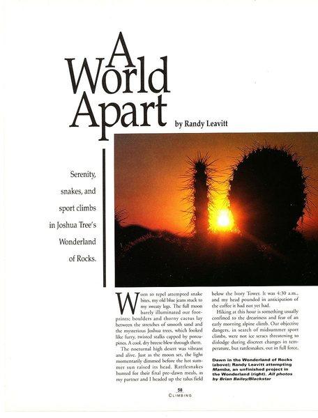 A World Apart (page 1), Climbing Magazine 125 (April/May 1991)