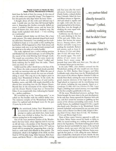 A World Apart (page 4), Climbing Magazine 125 (April/May 1991)