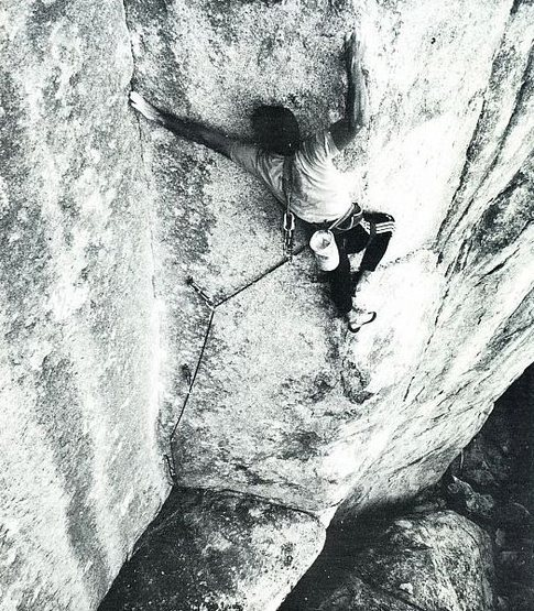Randy Leavitt on FA of The Thrill of Desire (5.12c), Joshua Tree NP<br> <br> Photo by Brian Bailey (http://www.brianbaileyphotography.com/)