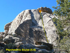 Rock Climbing Photo: Psychedelic Sluice (5.6), Holcomb Valley Pinnacles