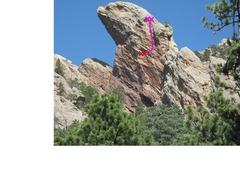 Rock Climbing Photo: A view from the south, with second pitch shown in ...