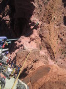 """Rock Climbing Photo: Can you say """"exposure""""? Looking down the..."""