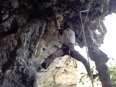 Rock Climbing Photo: Stemming the giant stalctites in the beggining of ...