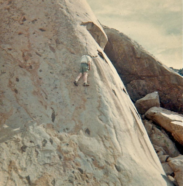 "Paul Gleason in Kronhofers attempting the FFA of ""Roman Nose"" 5.10+R in 1969. FA using aid - Lee Harrell.  The formation is now off limits.  I was able to free climb past the two bolts, but John Long (I think) got the FFA ca 1970."