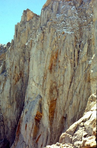 Rock Climbing Photo: 1971 Hammerless FA 5.8 North Face. Taken from the ...