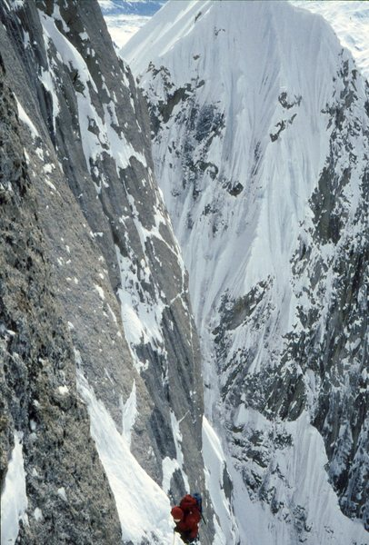 JB. high on the Harvard Route West Face of Huntington 1994.