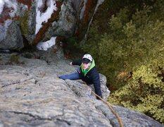 Rock Climbing Photo: Matt coming up the final awesome jug haul on Fire ...