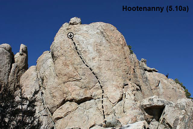 Rock Climbing Photo: Hootenanny (5.10a), Holcomb Valley Pinnacles