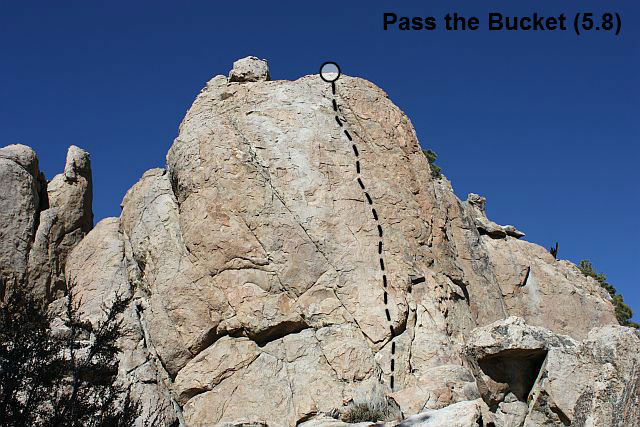 Pass the Bucket (5.8), Holcomb Valley Pinnacles