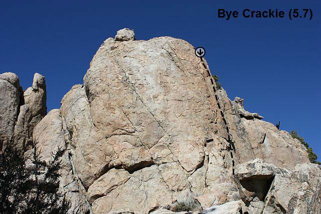 Bye Crackie (5.7), Holcomb Valley Pinnacles