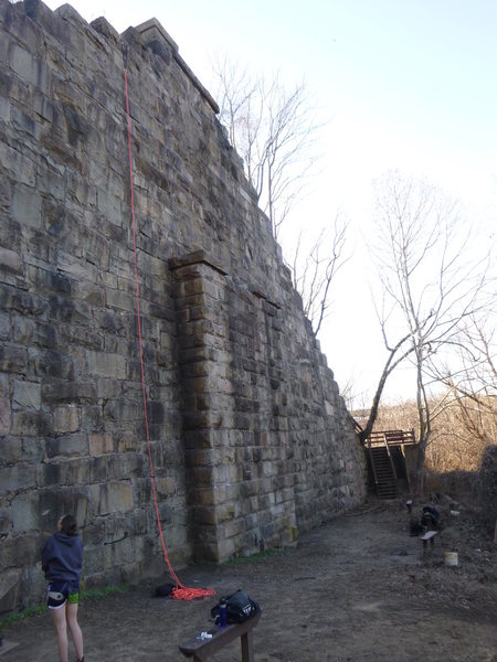 Shot of the main wall with the center outcropping.  Routes to the right of outcropping are more difficult.  Routes the left of outcropping are a little easier.
